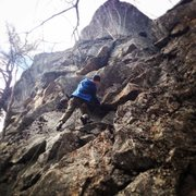 Lee pulling into the crux.