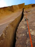 Rock Climbing Photo: The offwidth (Pitch 3) of Ixtlan. We linked Pitche...