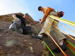 Rock Climbing Photo: The belay just above the roof on Ixtlan. This is t...