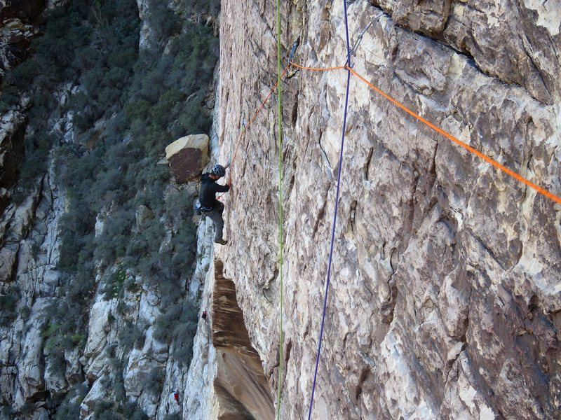Rock Climbing Photo: James on the wild traverse above the roof (Pitch 3...