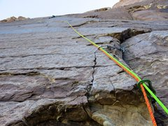 Rock Climbing Photo: Pitch 4  (the crux 10d pitch) of Fiddler on the Ro...