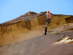 Rock Climbing Photo: Nick on the roof on Pitch 3 of Ixtlan. We linked P...