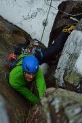 Rock Climbing Photo: Enjoying a wintry lead of Lamb & Eggs.