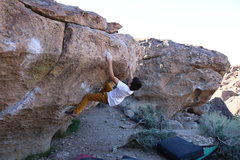 Rock Climbing Photo: Securing the good holds at the top of Mr. Happy