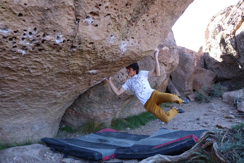 """Rock Climbing Photo: The super hard first move on """"Hit the High Ha..."""