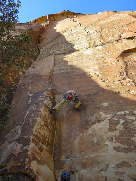 Rock Climbing Photo: Nick starting up the first pitch (crux of route, 1...