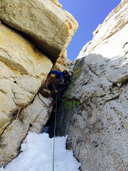 Winter route crux pitch <br> Photo by Richard shore
