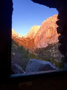 Rock Climbing Photo: Winter route  View of the route from inside the ol...