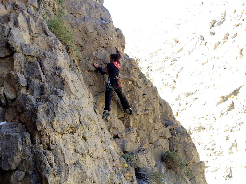 """Skip on the steep bit on the FA of """"Sesame Street"""" (5.6) at Pink Face."""