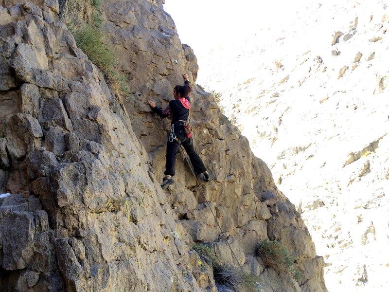 "Rock Climbing Photo: Skip on the steep bit on the FA of ""Sesame St..."