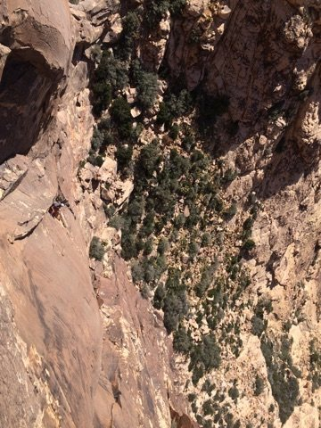 Looking down from pitch 2. Such a sick climb/