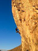 Rock Climbing Photo: Cat Geras taking a sunset lap
