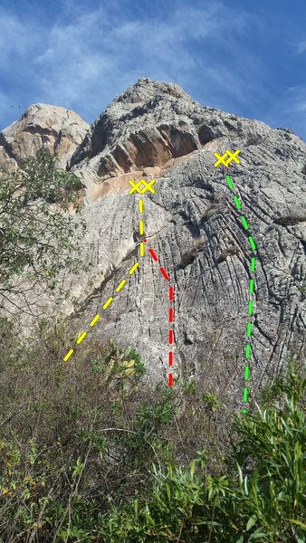 "Looking at the lines on the upper right portion of the ""corrugated roof"" face on Pena de Bernal."
