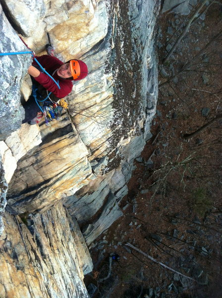 Another shot of Erik just after the crux of Bonnie's Roof Direct!! Awesome position!! #goodbelay