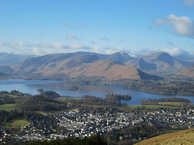 The town of Keswick at the head of the Borrowdale Valley