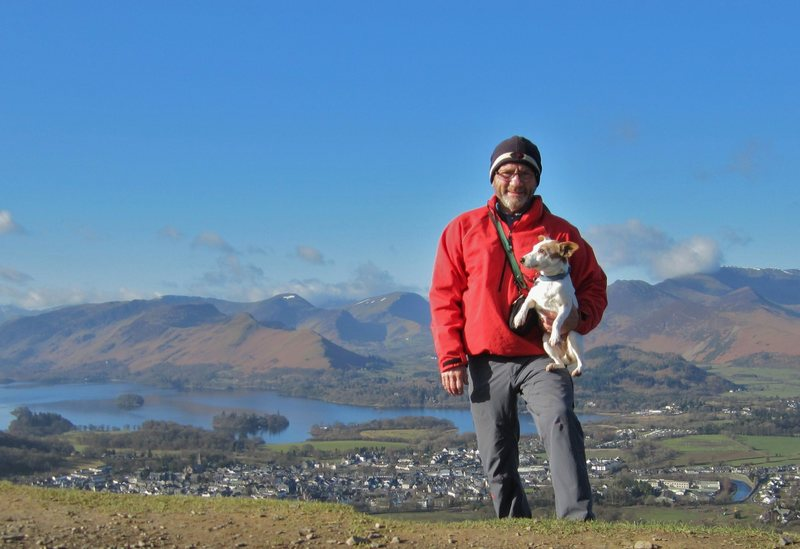 With Bess on the top of Latrigg with the town of Keswick below