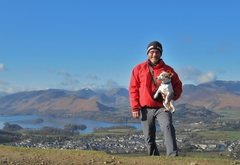 Rock Climbing Photo: With Bess on the top of Latrigg with the town of K...