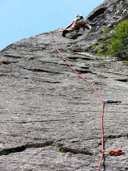 Rock Climbing Photo: OST pitch 2.  Beautiful hanging slab!