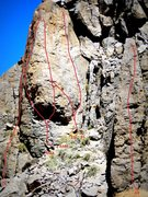 Rock Climbing Photo: Updated topo for the south face of Big Tower and A...