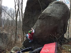Rock Climbing Photo: Pete taking down the Plumb Line, V4
