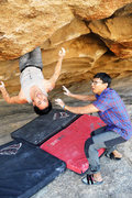 Rock Climbing Photo: Milking that sweet double knee bar rest  Photo cre...