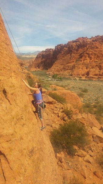 Rock Climbing Photo: Megan having a great time on this awesome line!