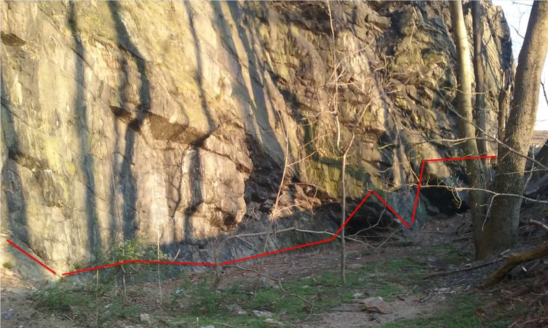 Rock Climbing Photo: roughly the foot line of the traverse