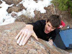Rock Climbing Photo: Alex got his try hard on....