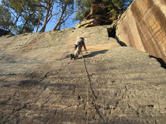 Rock Climbing Photo: Jeff checking out the big pink spot that used to b...