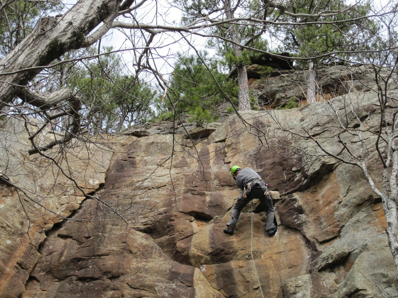 Midway through the lieback/undercling crux
