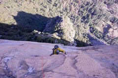 Rock Climbing Photo: Towards the end of the 11b undercling (P6)