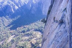 Rock Climbing Photo: Tough face move at the top. Most of the corner pit...