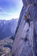 Rock Climbing Photo: Steep flakes towards the end. Can see the east led...