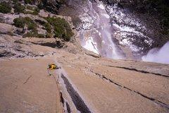 Rock Climbing Photo: 3rd pitch. Black streak was wet but didn't affect ...