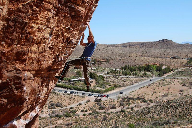 Rock Climbing Photo: JT fighting the barn door
