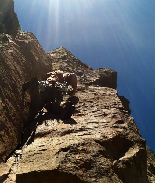 Mike on FA, upper pitch is steep!