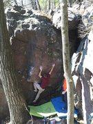 Rock Climbing Photo: After slotting the kneebar.