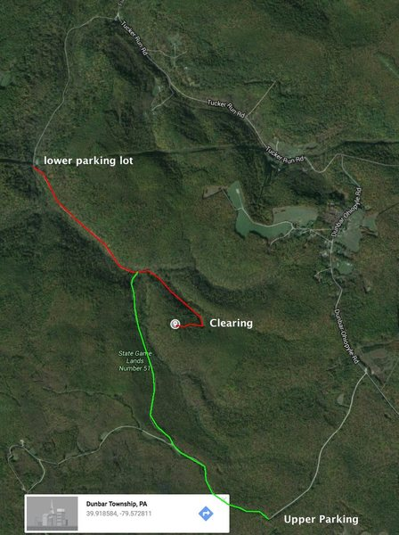 Rock Climbing Photo: Map to get to site. The clearing is marked to show...