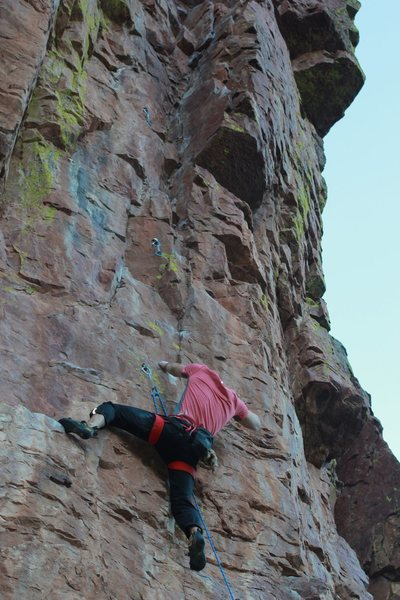 Rock Climbing Photo: Just before the crux. 3finger hold on right up ver...