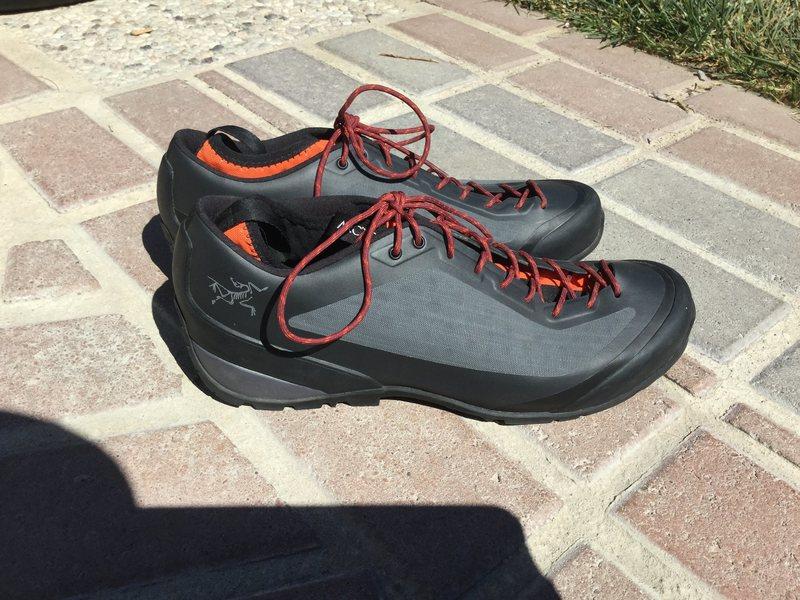 grey with orange laces