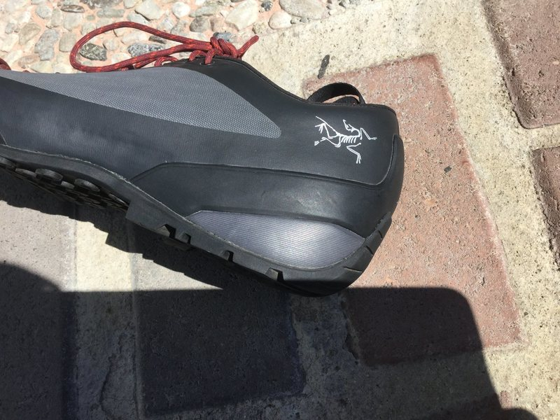 Rock Climbing Photo: Arcteryx logo on the heel