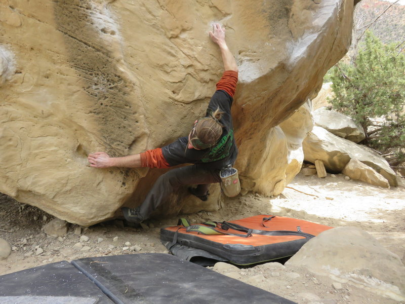 Good shot of the crux, this attempt failed, but a change of tactic and a heel hook to left hand matched made it go.