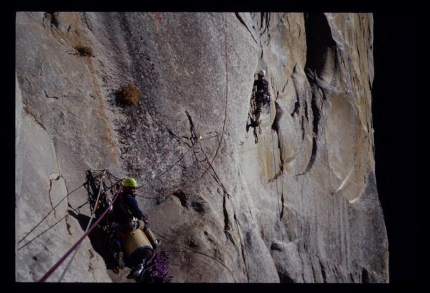 Pitch 5 off guano ledge, Leaning Tower, West Face, Yosemite.