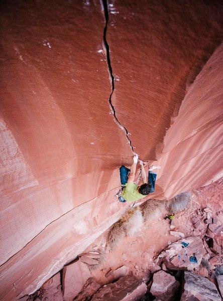 Rock Climbing Photo: The upper splitter. Miah Watt photo