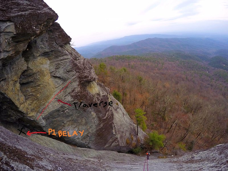 Rock Climbing Photo: My buddy and I had difficulty finding the P1 belay...