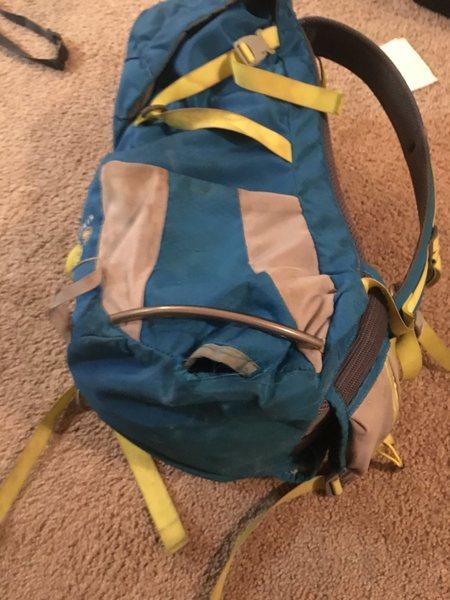 Tear in backpack<br>