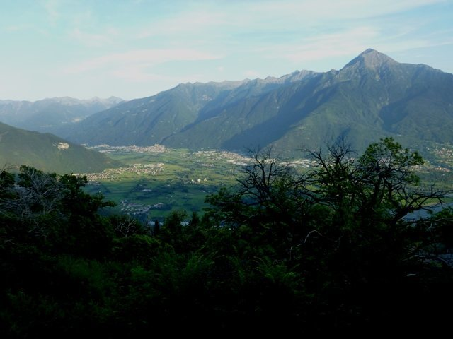 From a hut above the end of Lago di Como, looking south and east at the Basso Valtellina area.