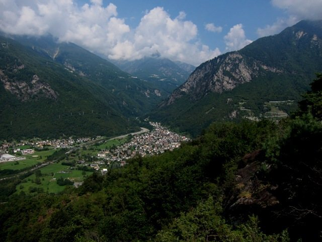 Chiavenna from Sasso Biano at Prata Camportaccio