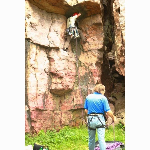 leading this climb is possible with smaller hexs, cams, and nuts.