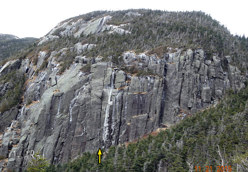 Location of the Panther's Fang on Mt. Marcy's Panther Den wall.